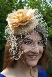Gold Pill Box Hat and Flower Fascinator with Birdcage Veil