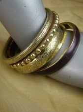 Gold and Wood Ethnic Five Layered Bangles