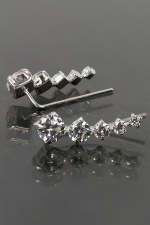 Sparkling Cubic Zirconia Crawler Earrings with 925 Silver
