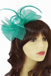 Green Crinoline Bow & Feather Hairband Fascinator