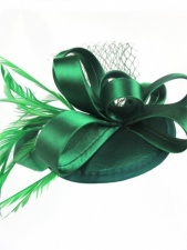 Green Satin Loop & Base Clip Fascinator