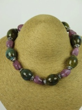 Green Ceramic Bead and Lilac Stone Fashion Necklace