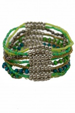 Green Tone & Silver Bead Elasticated Bracelet
