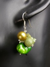 Green Pearl & Semi Precious Stone Nannapas 925 Silver Earrings