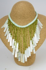 Trendy Mint Shell and Olive Green Quality Fringe Necklace