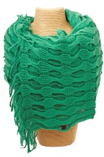 Green Netted Wrap Around Scarf with Fringe
