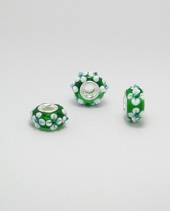 Green & White Glass Charm Bead with Sterling Silver Core