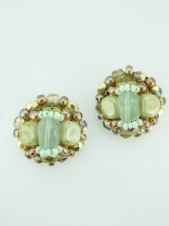 Green and Yellow Semi Precious Stone Clip Earrings