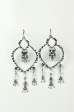 Black and Grey Beaded Large Fashion Earrings