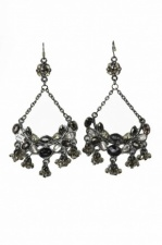 Black and Grey Bead and Crystal Ornate Fashion Earrings