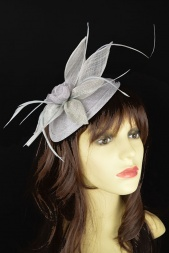 Silver Grey Petal Flower Hairband & Clip Fascinator