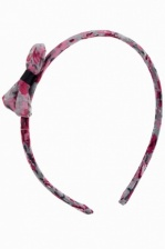 Grey & Pink Flower Print Chiffon Covered Alice Band