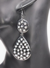 Grey and Crystal Fashion Earrings