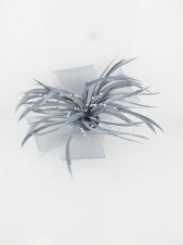 Grey Feather, Pearl Tendril and Crinoline Bow Clip Fascinator