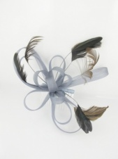 Grey Mesh Ribbon and Feather Comb Fascinator