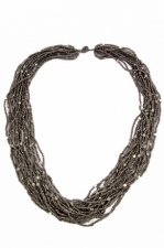 Grey & Silver Multi Strand Mid Length Beaded Necklace