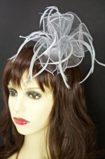 Grey Organza and Feather Comb Fascinator
