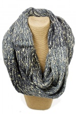 Grey & Gold Thread Colour Wood Knitted Snood