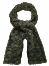 Grey Faux Fur Rose Scarf