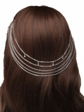 Silver Colour Diamonte Detailed Hair Chain