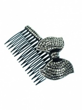 Black and Grey Bow Sparkling Hair Bow