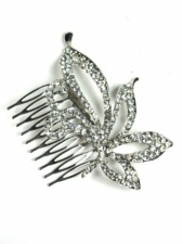 Large Crystal Flower Haircomb