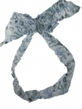 Blue and White Floral Chiffon Hair Scarf