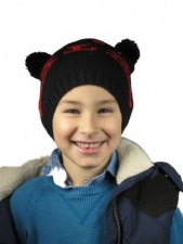 Childrens Black and Red Knitted Cat Hat with Pom Pom Ears