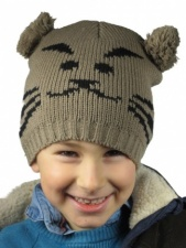 Kids Brown and Black Knitted Animal Hat with Pom Pom Ears