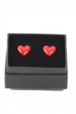 Pair of Red Heart Cuff Links with Gift Box