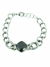 Hematite Grey and Black Stone Chain Bracelet