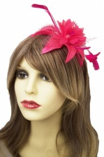 Pretty Hot Pink Flower & Feather Hairband Fascinator