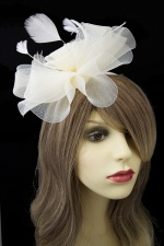 Large Ivory Crinoline Flower Hairband Fascinator