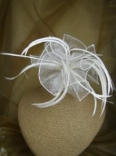 Ivory Organza and Feather Comb Fascinator