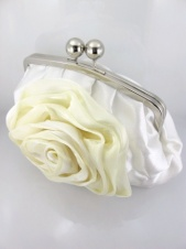Ivory Satin and Organza Rose Bag