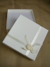 Ivory Square Bracelet/Pendant Gift Box with Ribbon