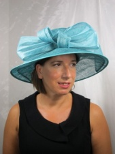 Jade Sinamay Wide Brim Hat with Large Jade Orgnaza Bow