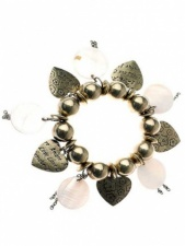 Elasticated Gold Bead and Heart Charm Fashion Bracelet