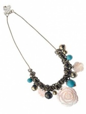 Gold Fashion Necklace with Shell and Turquoise Beads
