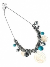Silver Fashion Necklace with Shell and Turquoise Charms