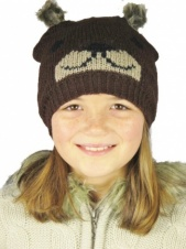 Kids Dark Brown Knitted Bear Hat with Fur Pom Pom Ears