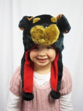 Kids Furry Dog Pom Pom Hat