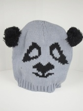 Kids Grey and Black Knitted Animal Hat with Pom Pom Ears