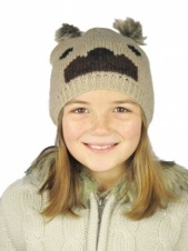 Kids Knitted Bear Beanie Hat with Faux Fur Pom Poms