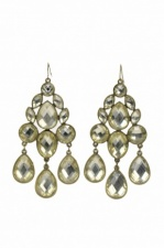 Gold and Clear Stone Vintage Style Large Fashion Earrings