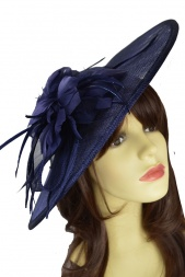 Navy Blue Large Saucer Hat with Hairband