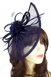 Large Dark Navy Contemporary Hairband & Clip Fascinator
