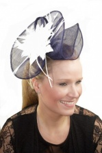 Large Navy Blue Sinamay & White Feather Flower Comb Fascinator