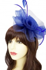 Royal Blue Large Crinoline Hairband Fascinator