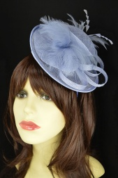 Pale Lavender Blue Small hat Fascinator with Hairband & Clip